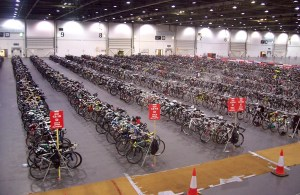 Make sure you know where you left your bike in the sea of bikes (this is the behemoth London Triathlon)