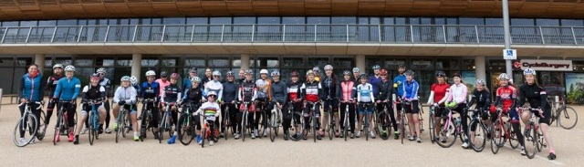 Post ride group photo outside the Velodrome