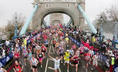 Runners cross Tower Bridge during the 2008 Flora London Marathon.