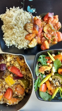 Morocan Roast Veg stew (top), Roast Veg and Quinoa (left) and Roast Veg salad (right)